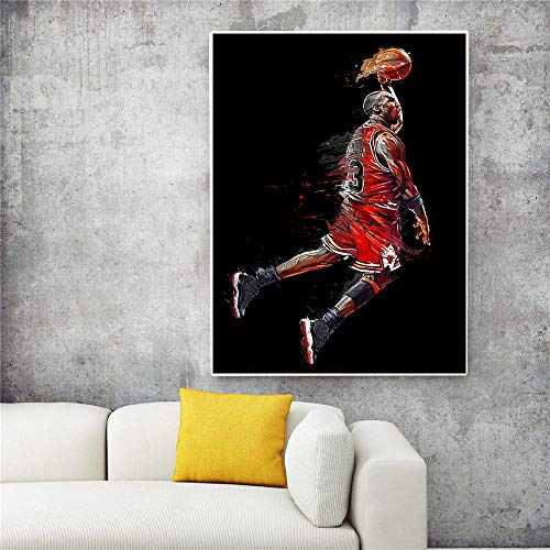 xtszlfj Abstract Sport Canvas Wall Art Painting Michael Jordan Poster Fly Dunk Basketball Pictures for Living Room Bedroom Decoration 60x90cm Frameless