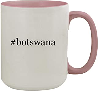 #botswana - 15oz Hashtag Colored Inner & Handle Ceramic Coffee Mug, Pink