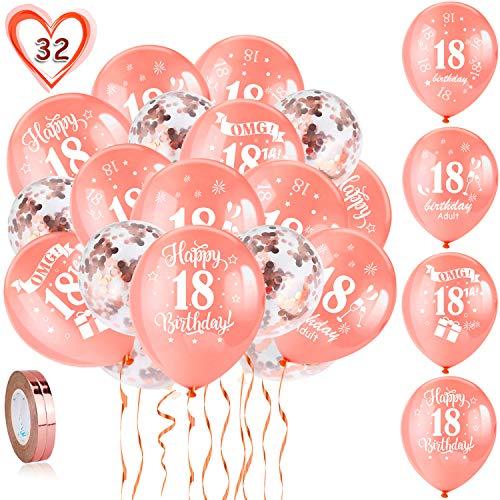 HOWAF 18. Geburtstag Luftballons, 30 Stück Rose Gold 18. Geburtstags Deko Ballons Latex Konfetti Luftballons & 2 Bänder für Mädchen 18. Geburtstag Party Dekorationen - 12 Zoll (Alter 18)