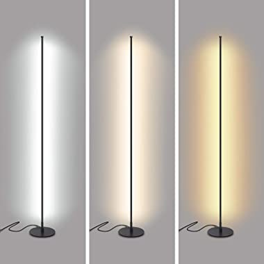 Snowtaros Lámpara de pie LED de 150 cm, 20 W, lámpara de pie con mando a distancia, 3 temperaturas de color y brillo continuo