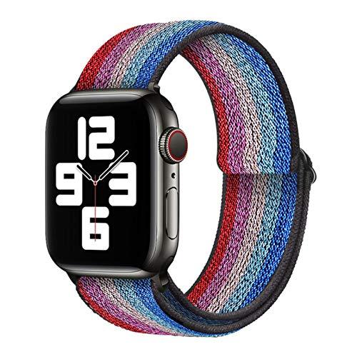 Correa de bucle de nailon suave bohemio para Apple Watch, correa de hebilla elástica para iWatch Series 6 / SE / 5/4/3/2/1-Arco iris azul, 42 mm o 44 mm