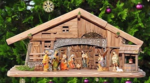 Weihnachtskrippe + Zubehör, ca. 70 cm K70-MF-BRK-TL-1 Design & Ausführung: massiv Vollholz Massivholz + 12 Premium - Krippenfiguren Figuren + mit Licht Laterne Beleuchtung Krippenbeleuchtung