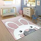 Paco Home Alfombra Infantil Conejo Adorable Rosa Pastel, tamaño:80x150 cm