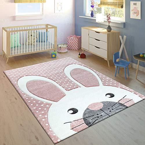 Paco Home Kinderteppich Kinderzimmer Konturenschnitt Niedlicher Hase In Creme Rosa, Grösse:Ø 120 cm Rund