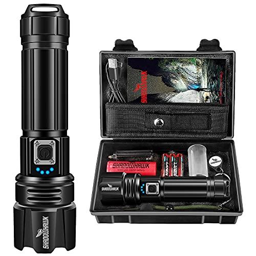 Shadowhawk Taschenlampe Led 10000 Lumen, Extrem Hell Taschenlampe USB Aufladbar Taktische Taschenlampen Mit holster CREE XHP70.2, IP67 Wasserdicht 5 Lichtmodi für Camping Wandern Notfälle(26650 Akku)