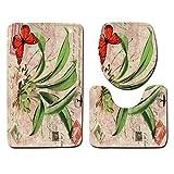 Borlai Juego de Alfombrillas Florales para Baño de 3 Piezas Alfombra Antideslizante + Alfombrilla de Inodoro en Forma de U + Cubierta de Tapa para Baño de Inodoro