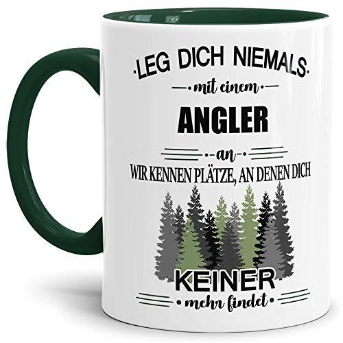 Tassendruck Berufe-Tasse Leg Dich Niemals mit einem Angler an - Geschenk-Idee/Büro/Job/Arbeit/Witzig/Lustig/Innen & Henkel Dunkelgrün