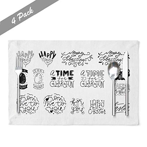 KUMAIN Easter Placemats, Easter Spring Lettering Quotes Collection Bundle Positive Place Mats Heat Resistant Set of 4 Placemats 12x18 Inch Placemats for Kitchen Table Cotton Linen,Easter Amp Spring