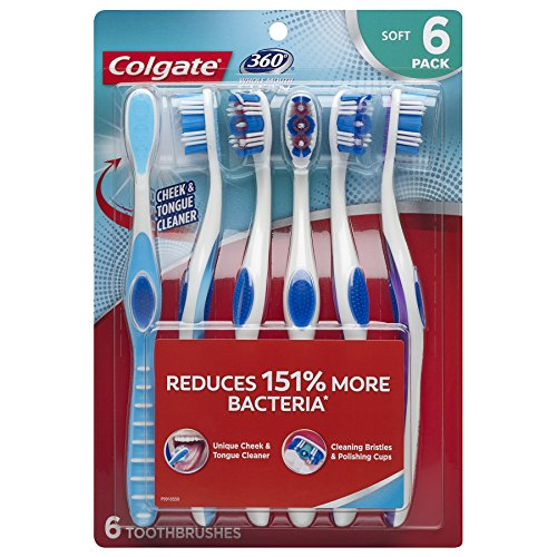 Colgate 360 Toothbrush with Tongue and Cheek Cleaner - Soft (6 Count), Compact Head