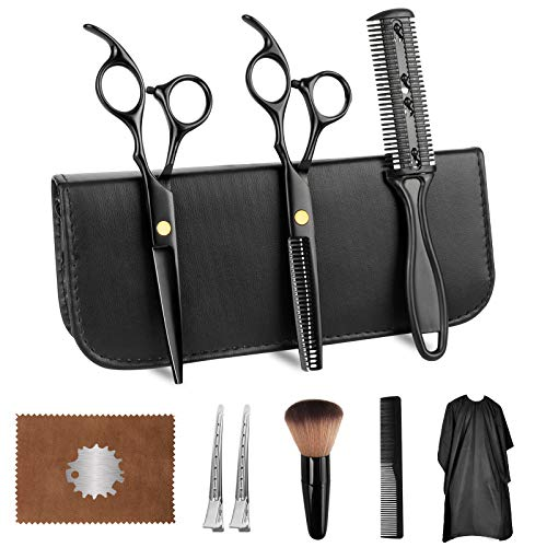 Hair Cutting Scissors Kits,11 PCS Stainless Steel Haircut Scissors Home Shears Kit (6.7-Inches), Thinning Scissors, Comb,Cape, Clips, Black Hairdressing Shears Set for Barber, Salon, Home
