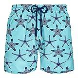 Vilebrequin, Men Swim Trunks Ultra-Light and Packable Starfish Dance, Lazulii Blue, XL