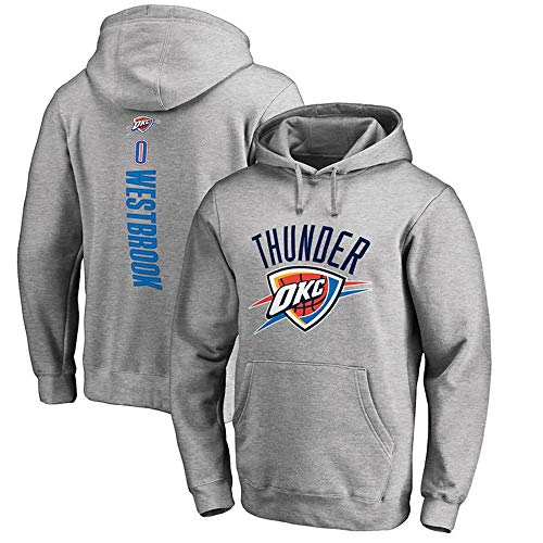 Felpa con Cappuccio NBA Oklahoma City Thunder Russell Westbrook Comodo Allentato Gioventù Maschile Mantieni Caldo Fan di Basket Sport Casual Felpa con Cappuccio Top Grey-M