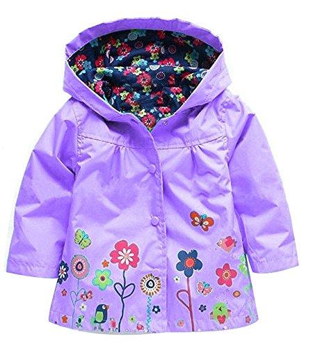 QZBAOSHU 2-6 Anni Bambino Giacca Impermeabile con Cappuccio Outwear Pioggia Cappotto delle Bambine e Ragazze(130: Misura per Altezza 110-120 cm,Viola