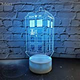 7 Colors Change Lamp Doctor Police Box 3D Lamp Acrylic Led Usb Table Lamp Lights Multi-Colored Bulbing Light Kid Gift