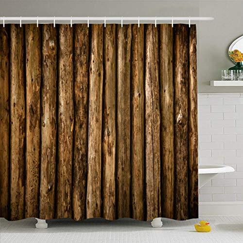 N/A douchegordijn 72x72 inch muur bruin blokhut houten oude hek buitenkant hardhout huis ontwerp landelijk waterdicht polyester stof badkamer gordijnen set met haken
