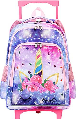 CAMTOP Rolling Backpack Girls Roller Bag with Wheels Kids School Bags Wheeled Backpack (Galaxy)