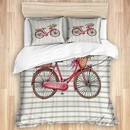 Jojun Funda nórdica de 3 Piezas, impresión de Rayas de Bicicleta Bicicletta Personalizada, Juego de Cama de Calidad con 1 Funda y 2 Fundas de Almohada Estilo