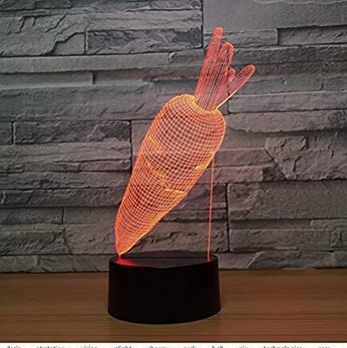 Lindo conejo zanahoria acrílico 3D LED luz nocturna 7 colores cambio USB lámpara de mesa creativa lámpara de dormitorio decoración del hogar regalo para niños