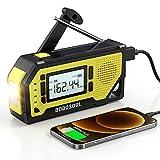 【2021 Newest】 Emergency Radio, DODOSOUL Solar Hand Crank Radio-AM/FM/NOAA Weather Radio with Large LCD Display, Portable Hurricane Survival Radio with Flashlight, 2000mAh Chargable Battery, SOS Alert