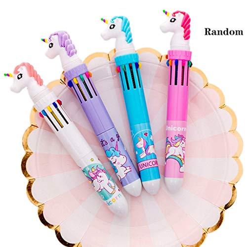 Amycute 10 piezas Set de Papelería Unicornio, Cuaderno Unicornio Bolígrafo de 10 Colores Unicorn Estuche Lápiz y Unicorn Gel Pens para Regalo de Niños Escuela