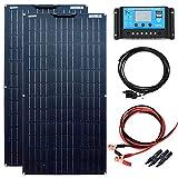 YUANFENGPOWER Kit de panel solar de 200 W 12 V, 2 módulos solares monocristalinos flexibles de 100 W, 18 V, controlador solar de 20 A, para caravana, barco, tienda de campaña, coche, caravana, remolque, cargador de batería de 12 V (200)