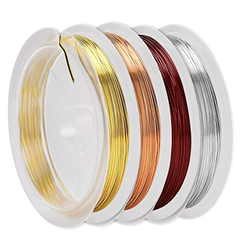 KONUNUS 4 PCS Jewelry Copper Craft Wire, 1mm Jewelry Wire for Jewelry Making Supplies and Craft, Tarnish Resistant Jewelry Beading, Owlbbabies Craft Wire (Silver, Gold, Rose Gold and Brown) Total 6m