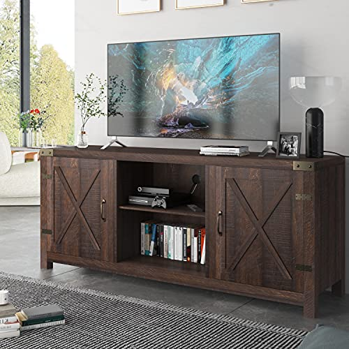 Allewie Farmhouse TV Stand, 58' Entertainment Center with Storage Cabinet, TV Console for TVs Up to...