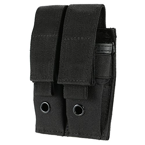 Uning Double Pistol Mag Pouch, Tactical MOLLE EDC Outdoor Flashlight Knife Holster Pouch Hunting Rifle Magazine Pouch Bag Gear (Black)