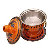 GANE Safe Cookware Fondue Fryers Old Beijing Chinese Large Copper Traditional Charcoal Hot Pot for Meat and Vegetable Fondues Or It For Cheese Or Chocolate And Dessert Fondues 20CM