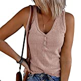 VEKDONE Summer Tank Tops for Women Waffle Knit Tunic Tops V Neck Henley Sleeveless Button Up Shirts Loose Blouses Vests…