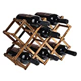 CMYY Estante para Botellas De Vino Plegable, Botelleros De Madera para Vino U Otras Bebidas – Vinoteca De Madera para 10 Botellas,Smoked Black,10 Bottles