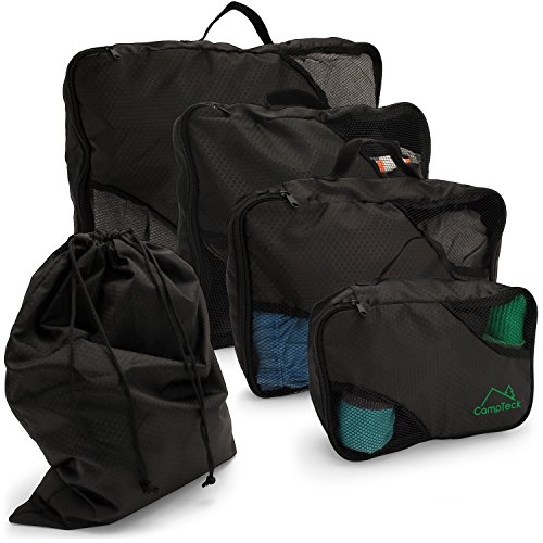 CampTeck 5 Pieces Packing 4 Cubes Set Travel Luggage Organizer Zip Bag + 1 Laundry Pouch – Black (S, M, L, XL)