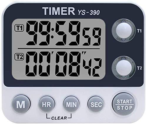 XREXS Digitaler Dual Küchentimer, Alarm Einstellbar Volumen Timer, Kochen Timer, Stoppuhr, Große LCD Anzeige Count Up Down Timer für Blinken Meeting Klasse, Magnetische Batterien Inklusive