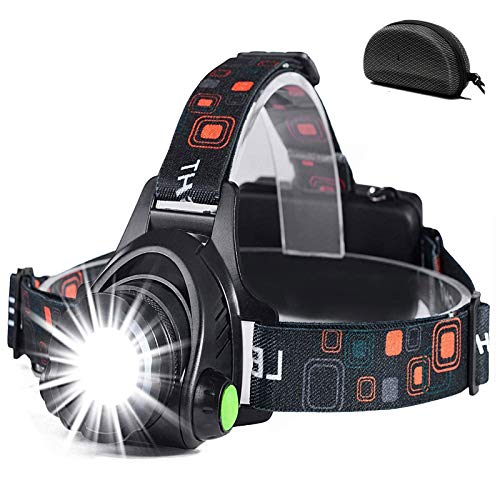 Cobiz Head Torch Light Rechargeable -5000 Lumen Zoomable IPX4 Waterproof...