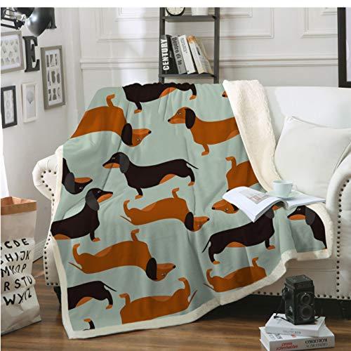 Dackel Wurst gedruckt Sherpa Decke Couch Bettbezug Reise Bettwäsche Samt Plüsch Überwurf Fleece Decke Tagesdecke 150 * 200Cm
