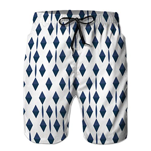 Xunulyn Beach Shorts Pantalone Costume da Bagno con Tasche Uomo Rombi Blu