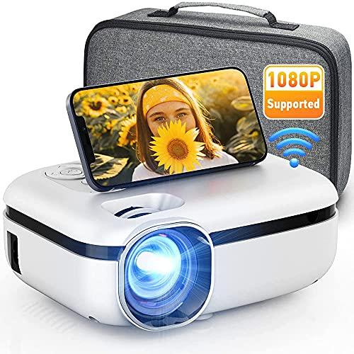 DOOK Proyector WiFi, 7500 Lúmenes Proyector WiFi Portátil Soporta Full HD 1080P Mini Proyector 720P Vídeo Proyector Cine en Casa Sonido Hi-Fi para Telefono/iPad/PC HDMI USB VGA SD PS4 (Blanco)