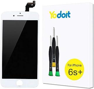 Yodoit Pantalla para iPhone 6s Plus Blanco, 5.5'' Retina Display, Táctil LCD de Repuesto Ensamblaje de Marco Digitalizador Contiene Herramientas + película de Vidrio Templado