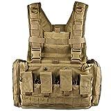 Tasmanian Tiger TT Chest Rig MKII Militär Gurtzeug Kampfmittel-Weste mit 4 G36 Magazin-Taschen und Taschen für 2 US Feldflaschen, Khaki