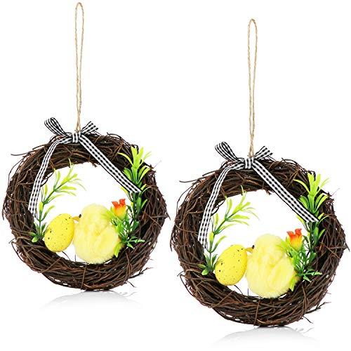 COM-FOUR® 2x paaskrans met kuiken, paasei en roos - decoratieve krans van echt hout - mooie raam-, muur- en deurkrans als paasdecoratie (2 stuks - 18cm - met kip)