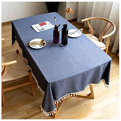 WLI Mantel de Lino de algodón, 120x215cm, Azul Mantel con borlas a Prueba de Polvo, Cubierta de Mesa Lavable para Cocina, Comedor, decoración de Mesa de Granja