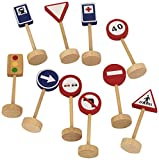 Goula- Bag of Traffic Signs Juguete, Negro, Azul, Rojo, Color Blanco, Madera (Diset 50211)