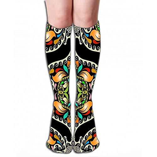 NGMADOIAN Hohe Socken Vintage dekorative bunte Paisley Griechisch nahtlose Patte Vintage dekorative bunte Paisley Griechisch nahtlose Muster Fliese L (50cm)