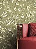 NEWROOM Tapete Grün Vliestapete Blumen - Blumentapte Floral Creme Beige Blätter Baum Mustertapete Tropisch Natur Botanisch inkl. Tapezier-Ratgeber