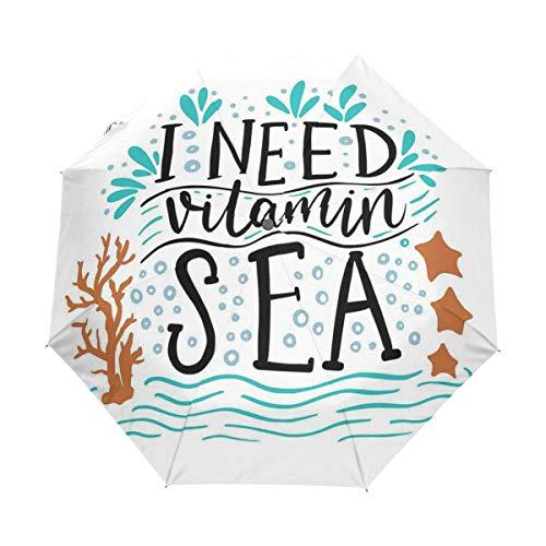 SUHETI Regenschirm Taschenschirm,Ich Brauche Vitamin Sea Inspirational Quote Hand gezeichnet mit Coral Waves Starfishes Bubbles,Auf Zu Automatik,windsicher,stabil