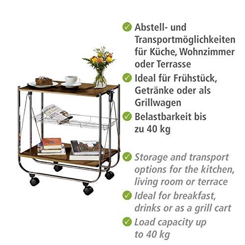 Wenko 713003100 Servierwagen Dinett Deluxe Walnuss Küchenwagen – Beistellwagen- zusammenklappbar - 7