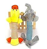 NiceButy Lot de 2 pièces du jouet Biter avec sons pour chien pour chien chiot en peluche éléphant Canard