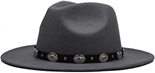 LiJuan Shen Fashion Men Women Fedora Hat with Punk Belt Wool Hat Wide Brim Hat Outdoor Party Hat Size 56-59CM