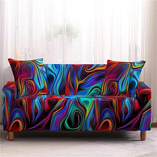 Hearda Funda para Sofá Elástica, Impresión de Abstracto Universal Antideslizante Cubierta de Sofá Funda Cubre Protector para Sofás Decorativa (Vistoso,2 plazas - 145-185cm)