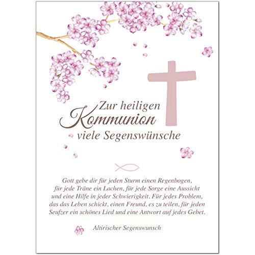 Glückwunschkarte Kommunion mit Umschlag/mit schönem Text/Kommunionskarten/Karte für Glückwünsche/Feier